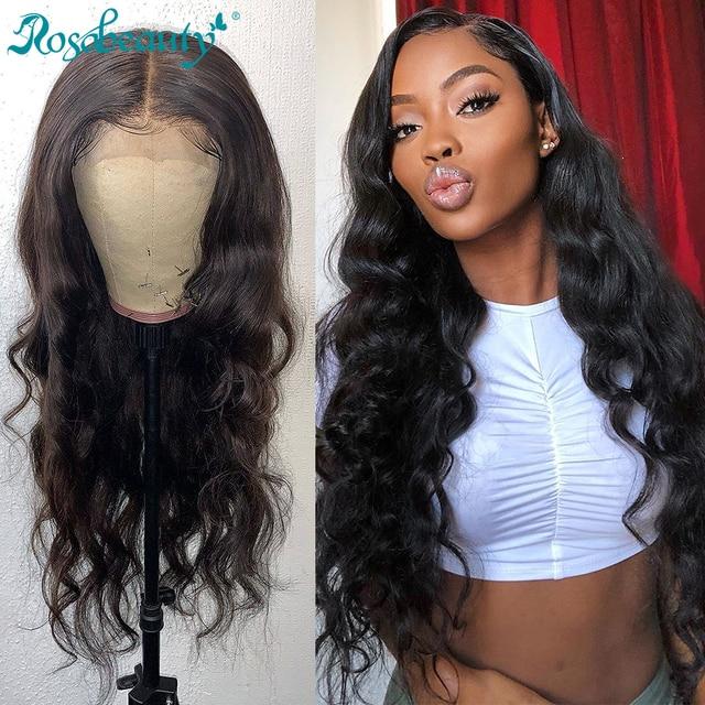 Rosabeauty 28 30 אינץ 13x4 תחרה מול שיער טבעי פאות 180 צפיפות ברזילאי גוף גל פרונטאלית פאה שחור נשים מראש קטף