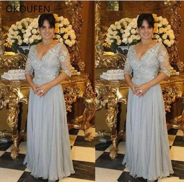 Mother Of The Bride Dresses For Wedding Party Half Sleeves 2020 Silver Grey Chiffon V Neck Formal Mom Women Vestidos De Madrinha