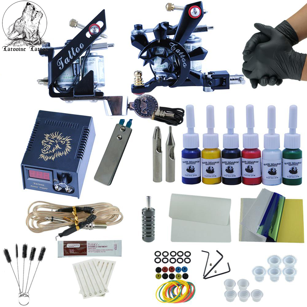Beginner Professional Tattoo Machine Kit 2pcs Top Tattoo Machine For Lining And Shading Sets Power Tattoo Kits Permanent Makeup