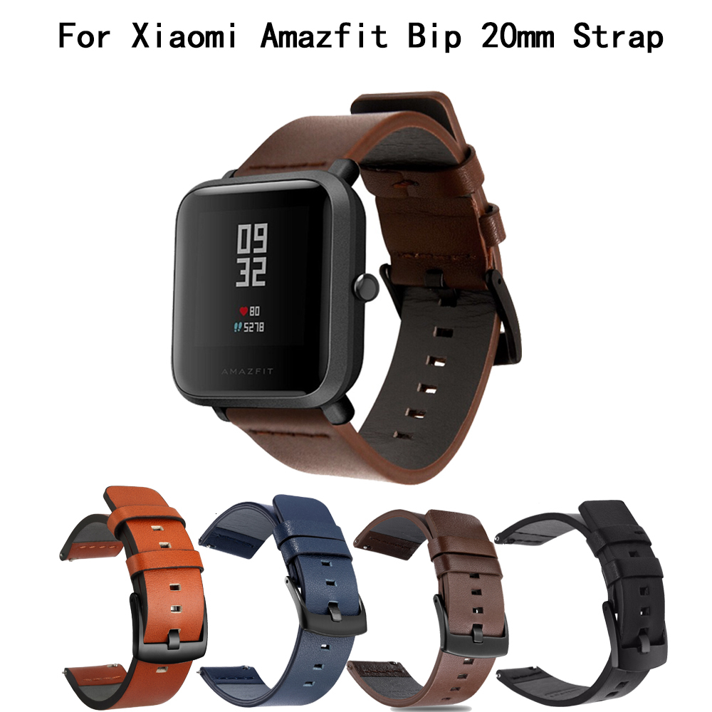 20mm Leather Strap For Xiaomi Huami Amazfit Bip BIT Lite Youth Smart Watch For Amazfit Bip Replacement Sports Watch Strap