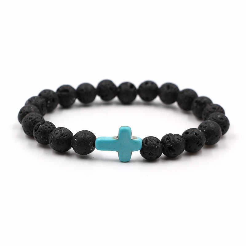 8 мм натуральный черный камень из вулканической лавы крест браслет черный мужской браслет женский мужской Йога Магнитная терапия ювелирные браслеты