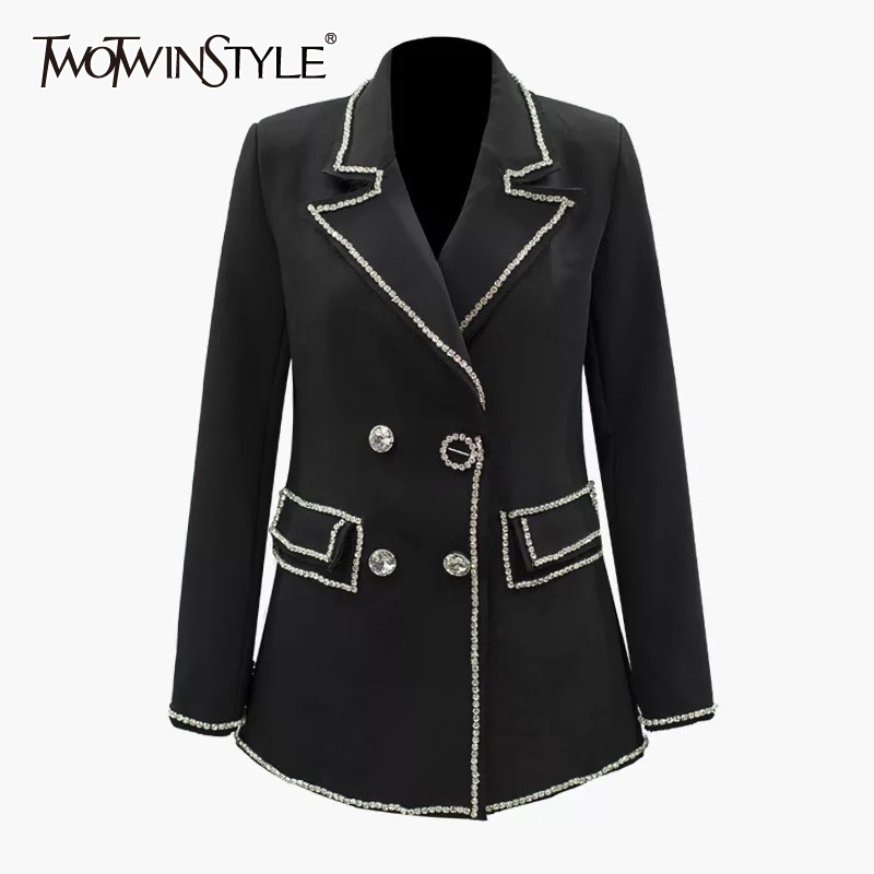 TWOTWINSTYLE Diamond Patchwork Women's Blazer Notched Collar Long Sleeve Elegant Autumn Female Coat 2019 Fashion Clothing
