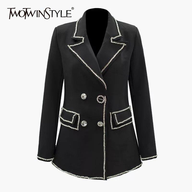 TWOTWINSTYLE Diamond Patchwork Women's Blazer Notched Collar Long Sleeve Elegant Autumn Female Coat 2020 Fashion Clothing