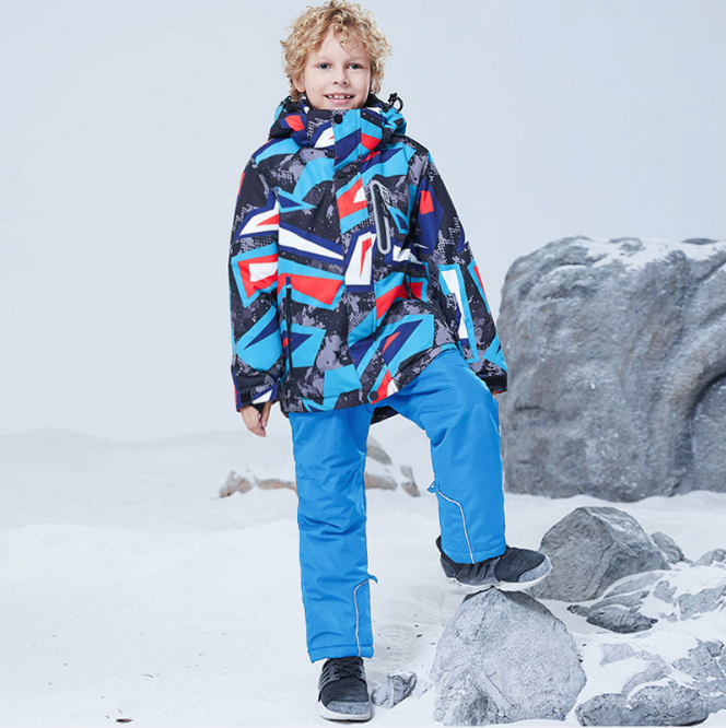 Boys Skiing Snowboarding Outdoors 2019 Kids Ski Suit Waterproof Warm Snow Jacket and Pants Thicken Winter Ski Snowsuit for