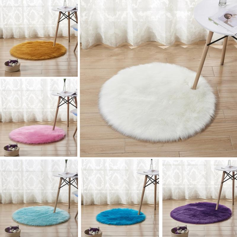 30cm Faux Australian Fluffy Round Rug Carpet Circles Machine Washable Warm Floor Wool Carpet Floor Mat