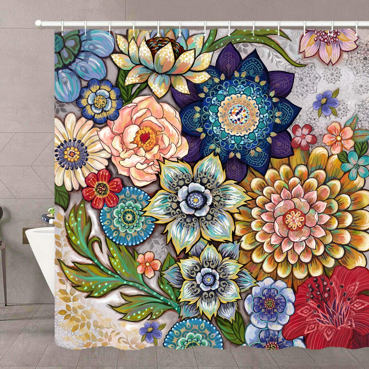 Boho Floral Bright Fabric Blossom Shower Curtain With 12 Hooks Shower Curtains Aliexpress