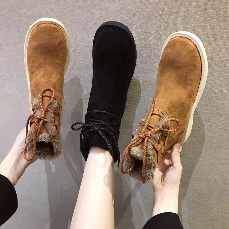 Kar botları 2019 yeni orta buzağı çizmeler bayanlar pamuk kış çizmeler kadınlar sıcak kürk kadın ayakkabı kış kadin çizmelerİ lace Up