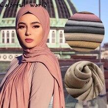 Foulard en Jersey musulman en coton doux pour femme musulmane, châle et écharpe de tête pour femme musulmane