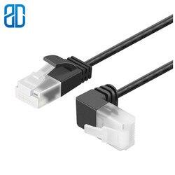O cabo ultra magro cat6a ethernet deixou à direita para baixo o gato 6a do cabo do remendo da rede de utp do ângulo (categoria 6) 0.25 m/0.5 m/1 m/2 m/3 m/5 m preto