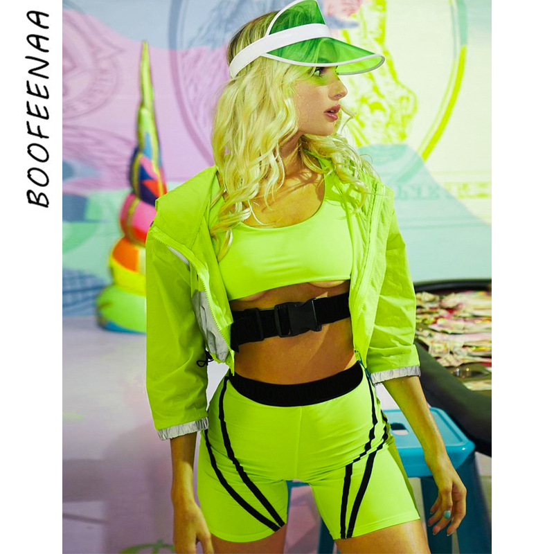 BOOFEENAA Sexy 2 Piece Set Women Neon Green Buckle Front Crop Top And Biker Shorts Rave Festival Women Club Outfits C16-AB79