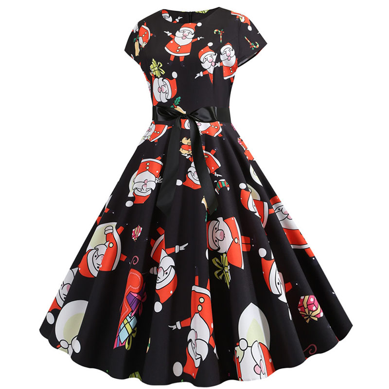 Women Christmas Party Dress robe femme Plus Size Elegant Vintage Short Sleeve Xmas Summer Dress Black Casual Midi Jurken Vestido 762
