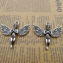 20pcs Angel Charms 40mm x 43mm DIY Jewelry Making Pendant Antique Silver(China)