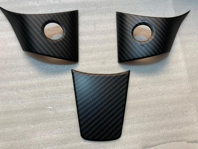 3pcs frosting matte finish Carbon fiber for Tesla Model 3 Steering wheel patch decoration Interior Modified Model Y accessories 3