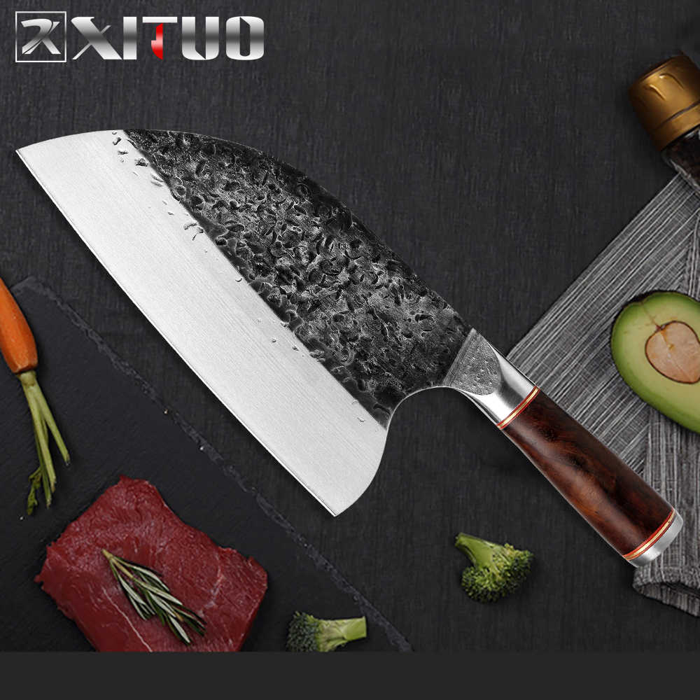 XITUO Chef Coltello Forgiato A Mano Alto Tenore di Carbonio In Acciaio Sharp Mannaia Utility Macellaio Anti-stick di Alta Durezza Lama Larga Da Cucina coltello