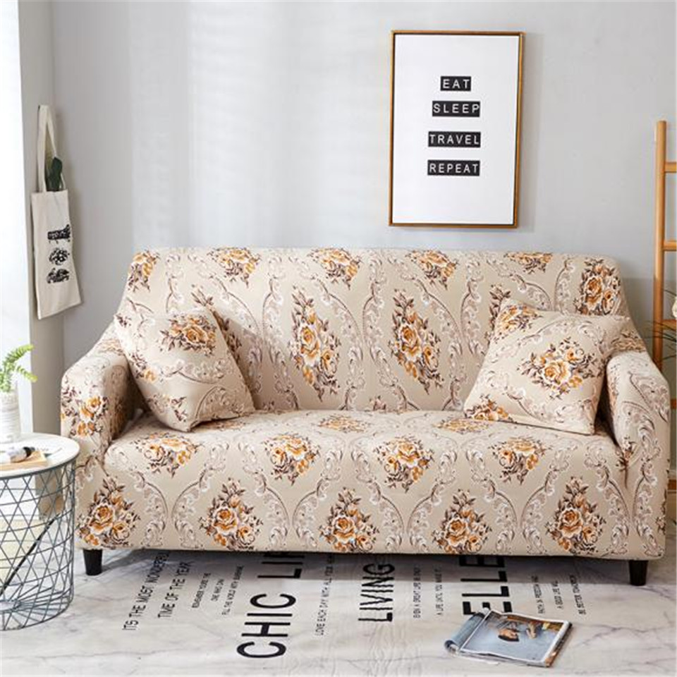 HM Life Elastic Sofa Cover Floral Geometric Printed Sofa 1/2/3/4 Seater Slipcovers For Living Room Decorative Furniture Covers