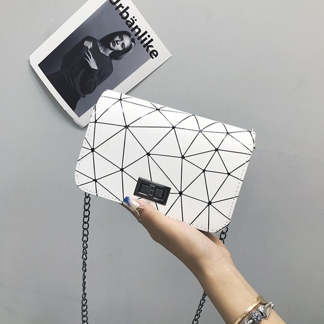 DOLOVE Women Fashionable Shoulder Bags New Female Messenger Bag Handbag Chain Wild Crack Printing Wild Crossbody Bag