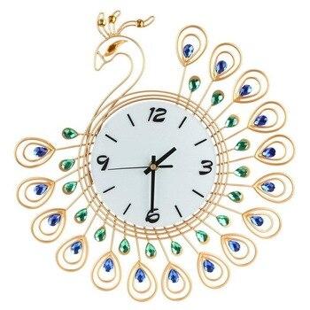 Gold Diamond Peacock Metal Wall Clock Silent Home Living Room Decor No Battery 2020