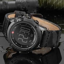 Часы наручные KADEMAN Мужские Цифровые, спортивные брендовые Роскошные водонепроницаемые Модные в стиле милитари, с кожаным ремешком