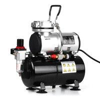 KKmoon Professional 1/6 HP Piston Spray Gun Airbrush Compressor 220 240V Tattoo Manicure Spraying Air Compressor with Tank