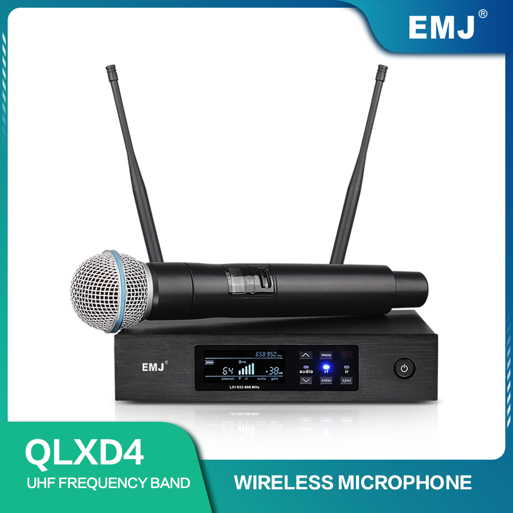 New Top Quality QLXD4 Digital True Diversity UHF Wireless Microphone System Professional Single Handheld Mic Perfect Sound Stage