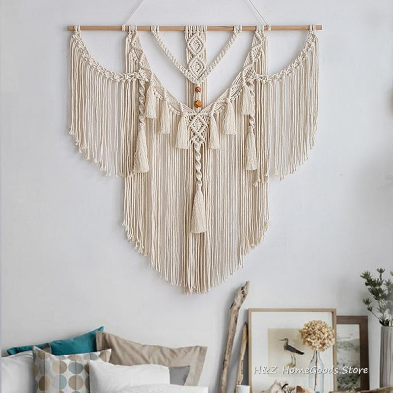 Makrama gobelin Boho dekoracji styl skandynawski ręcznie tkane gobeliny ścienne wiszące do pokoju sztuka do salonu wystrój 80x83cm do dekoracji w stylu Boho