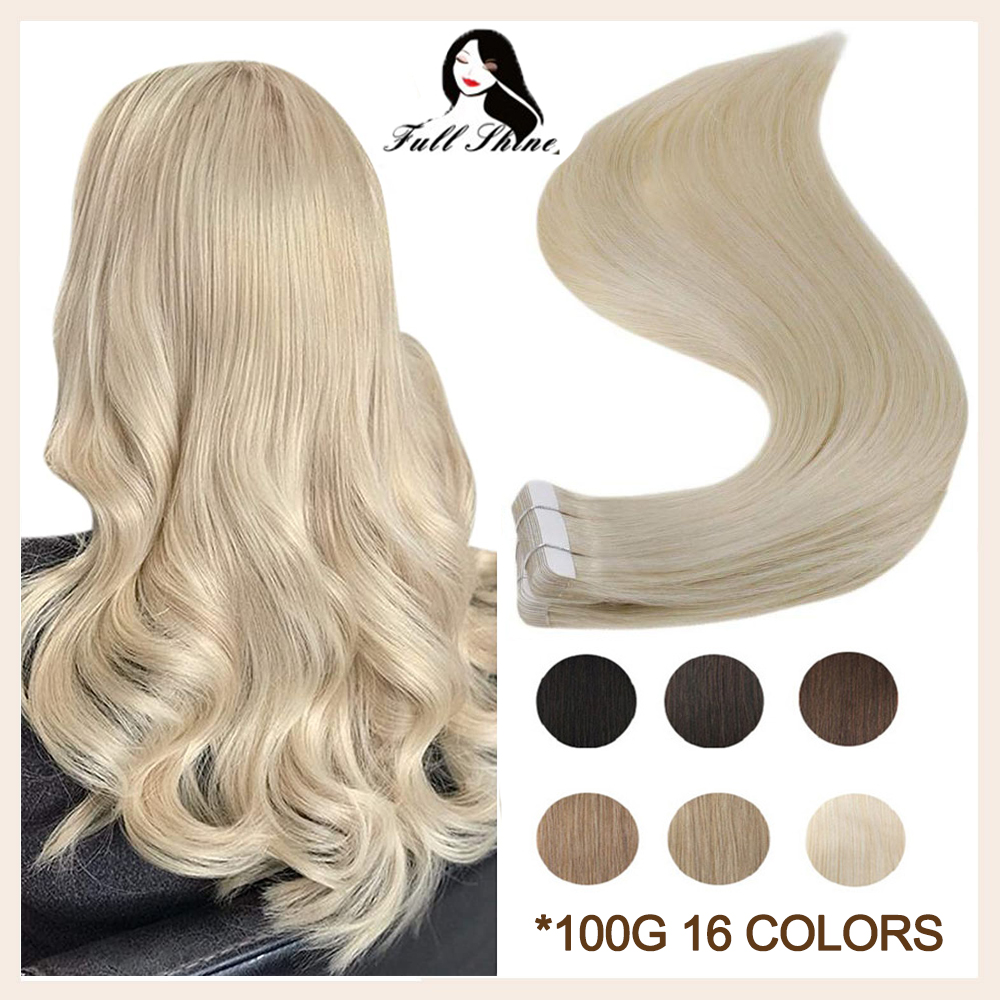 Full Shine Tape In 100% Remy Human Hair Invisible Straight Double Sided Blonde Comfortable Silky Natural Tape ins For Women