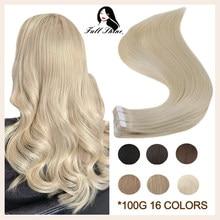 Extensiones de cabello humano Remy para mujer, cinta brillante, doble cara, cómoda, sedosa, rubia