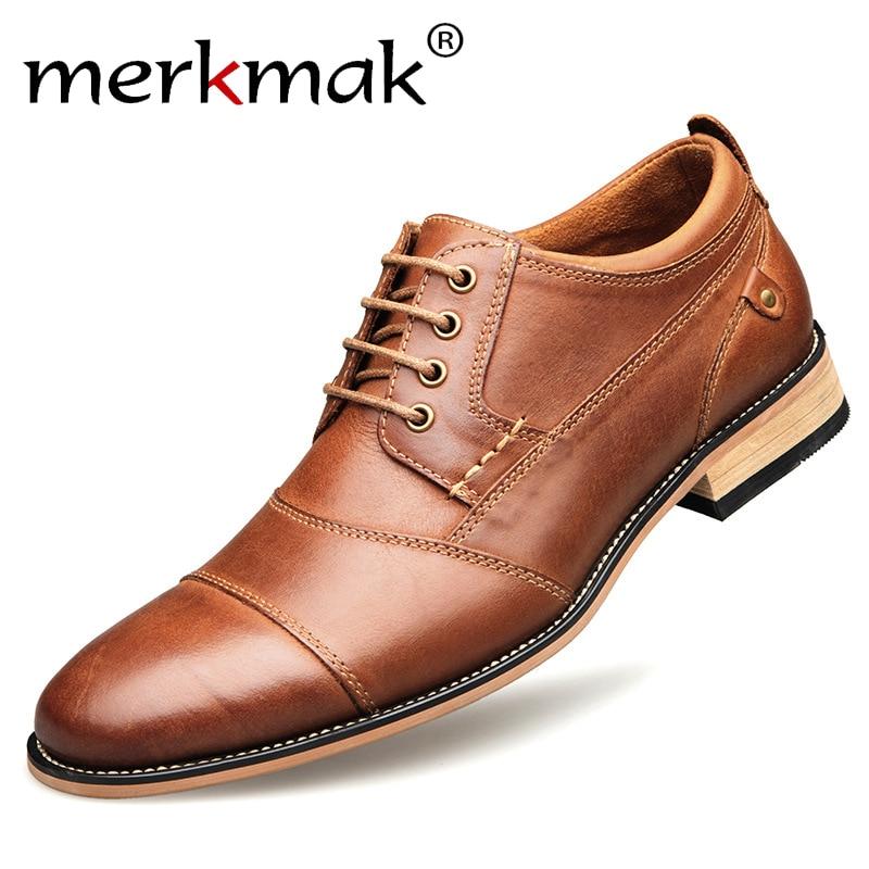 Men Casual Shoes Top Quality Oxfords Men Genuine Leather Dress Shoes Business Formal Shoes Men Flats Plus Size Wedding Party