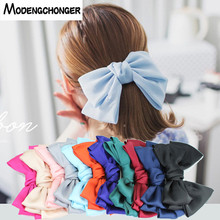 New Quality Solid Color Big Large Silk Bow Barrettes 3 Levels Hairpin Girls Hair Clips Chiffon Satin Hairgrips Accessories