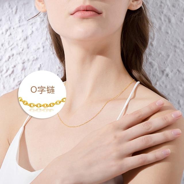 Collar gargantilla de cadena en forma de O de acero de titanio de 1,5mm no se decolora collar fino de acero inoxidable dorado de 18K para mujer
