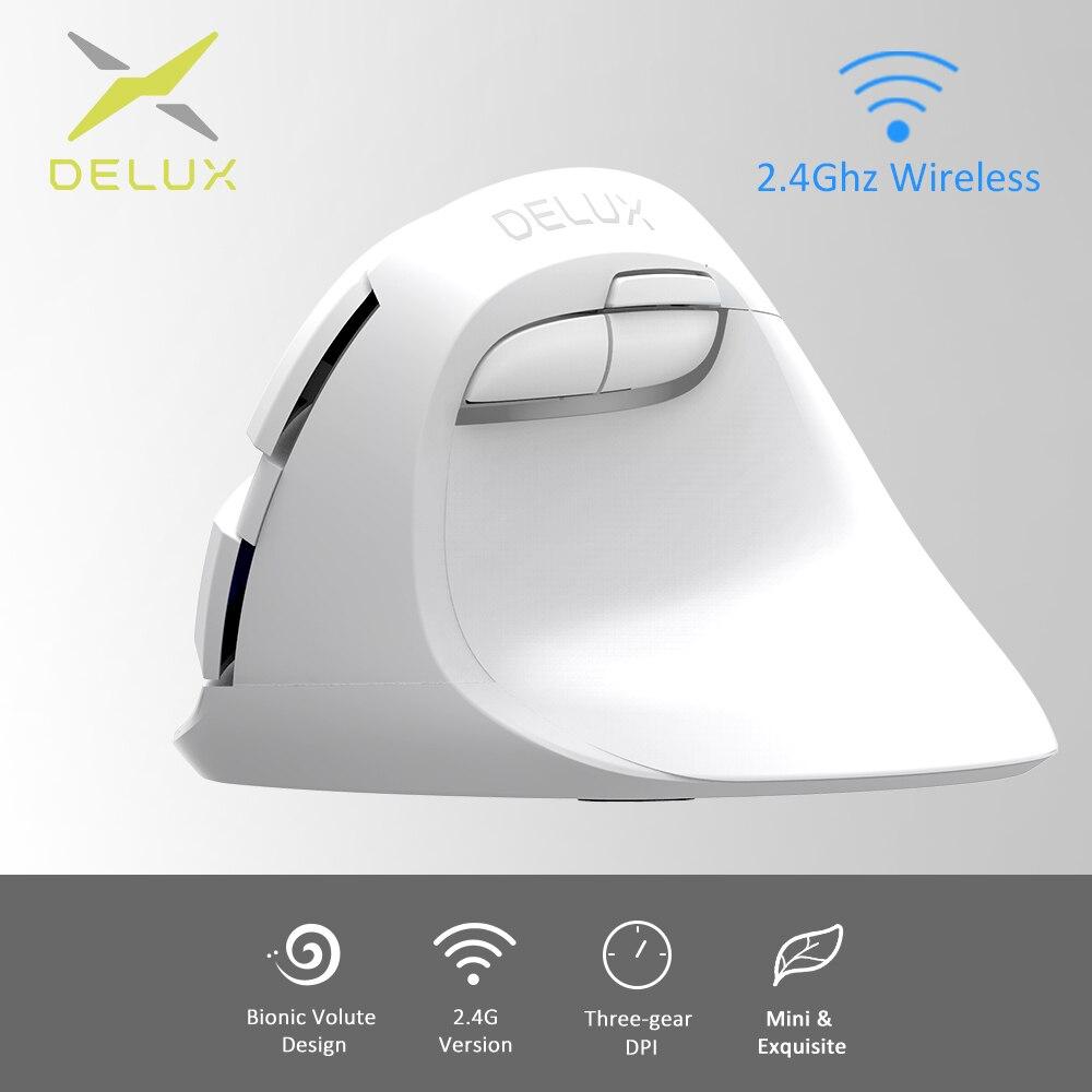 Delux M618 Mini GX weiß 2,4 GHz Ergonomische Vertikale Maus Wireless Lindern handgelenk müdigkeit 1600 DPI Kleine und nette Vertikale mäuse