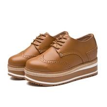 Lucyever zapatos de mujer Oxford de plataforma plana de Primavera de cuero de Pu zapatos planos Brogues Encaje Vintage Up mocasines de punta redonda zapatos casuales Mujer