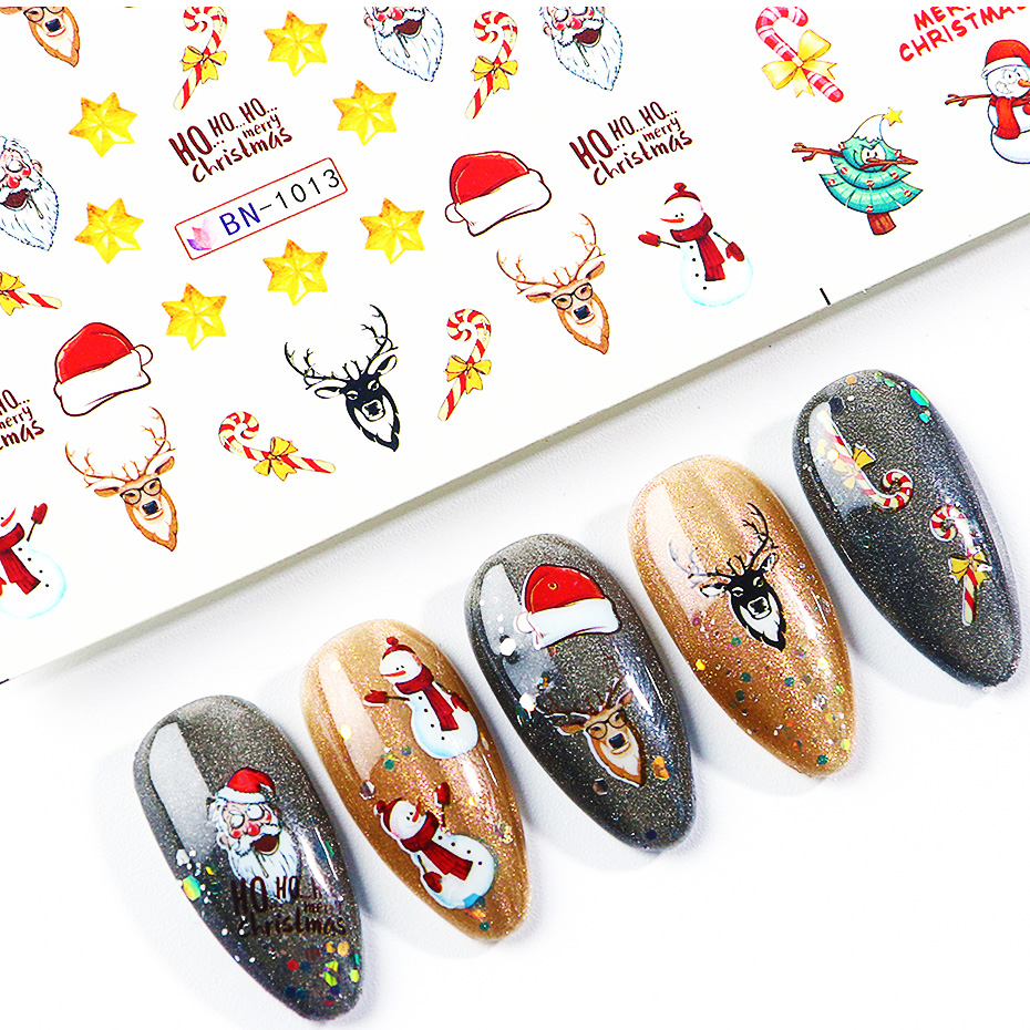 Image 5 - Xmas Cool Santa Stickers For Nails Snowflake Flowers Nail Christmas Stickers Nail Art Winter Adhesive Sliders Manicure CHBN/A 1-in Stickers & Decals from Beauty & Health