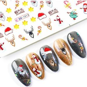 Image 5 - Xmas Cool Santa Stickers Voor Nagels Sneeuwvlok Bloemen Nail Kerst Stickers Nail Art Winter Lijm Sliders Manicure CHBN/A 1