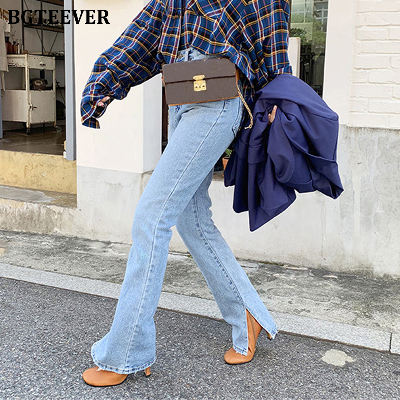 BGTEEVER Fashion Women Denim Jeans High-waist Flare Jeans For Women Side Split Jeans Vintage Female Long Denim Pant Capris 2020
