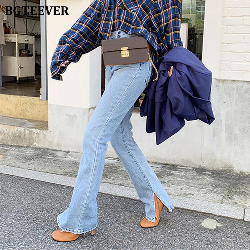 BGTEEVER Fashion Women Denim Jeans High-waist Flare Jeans For Women Side Split Jeans Vintage Female Long Denim Pant Capris 2020