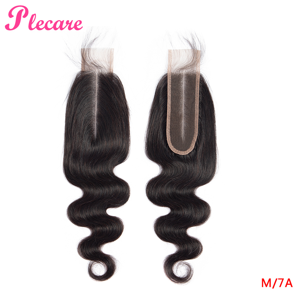 Plecare Brazilian 2*6 Lace Closure Body Wave Human Hair Closure With Baby Hair 8-22 Inch Non Remy Middle Ratio Natural Color