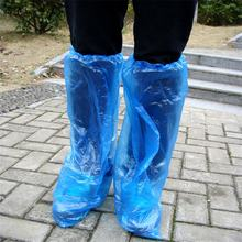 Disposable Shoe Covers Blue Rain Shoes and Boots Cover Plastic Long Shoe Cover Clear Waterproof Anti-Slip Overshoe(China)