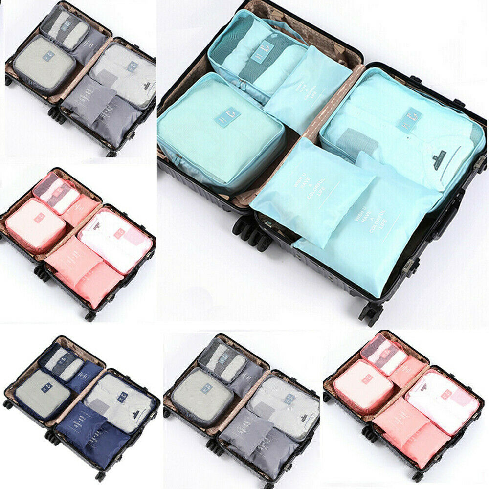 6PCS Different Sizes Cube Travel Luggage Bags Travel Totes For Packing Clothes Socks Shoes Makeup Organizer Travel Bags