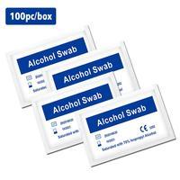 100PCS Disposable Alcohol Wet Wipes Portable Antibacterial Wet Tissue Skin Cleaning Care Jewelry Mobile Phone Clean Wipe-في صناديق المناديل من السيارات والدراجات النارية على