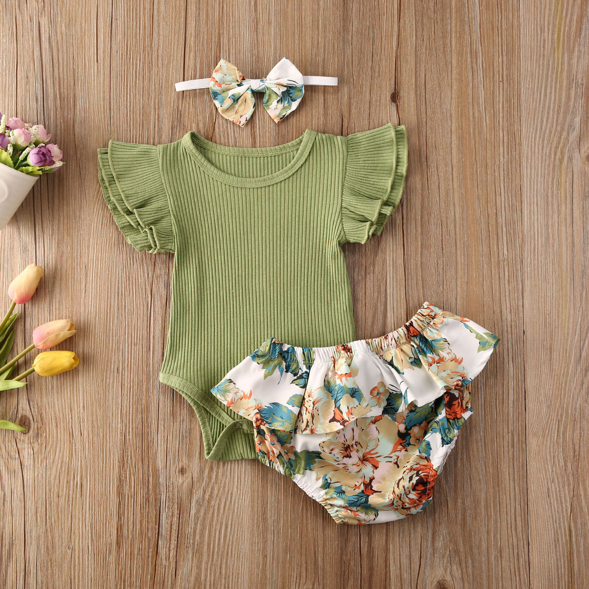 Emmababy Newborn Baby Girl Clothes Solid Color Fly Sleeve Romper Tops Ruffle Flower Print Shorts Headband 3Pcs Outfits Clothes