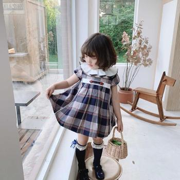 3PCS Summer Lolita Spanish Princess Dress Blue Plaid short sleeve Ball Gown Vintage Birthday Easter Party Dress For girls Y3038