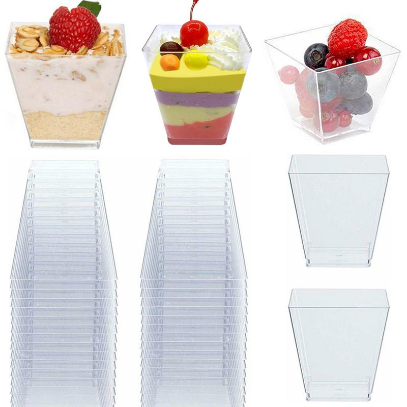 100PCS 60ML Transparent Dessert Cups PS Hard Trapezoid Square Dessert Cup Food Grade Portion Cups Disposable Dessert Storage