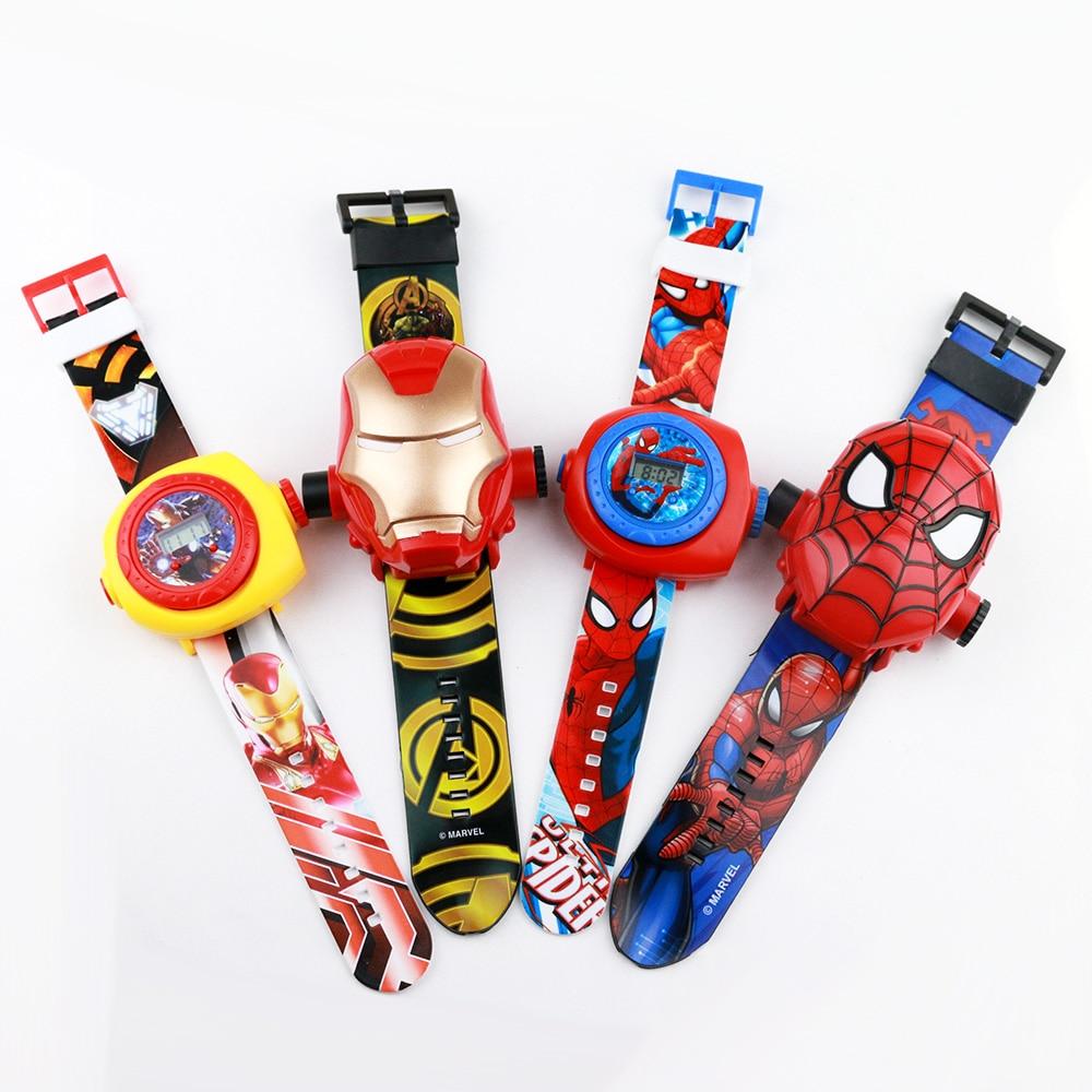 Projection Spiderman Children Watches Kids Pirncess Cartoon Pattern Boys Watch For Girls LED Display Clock Relogio Infantil