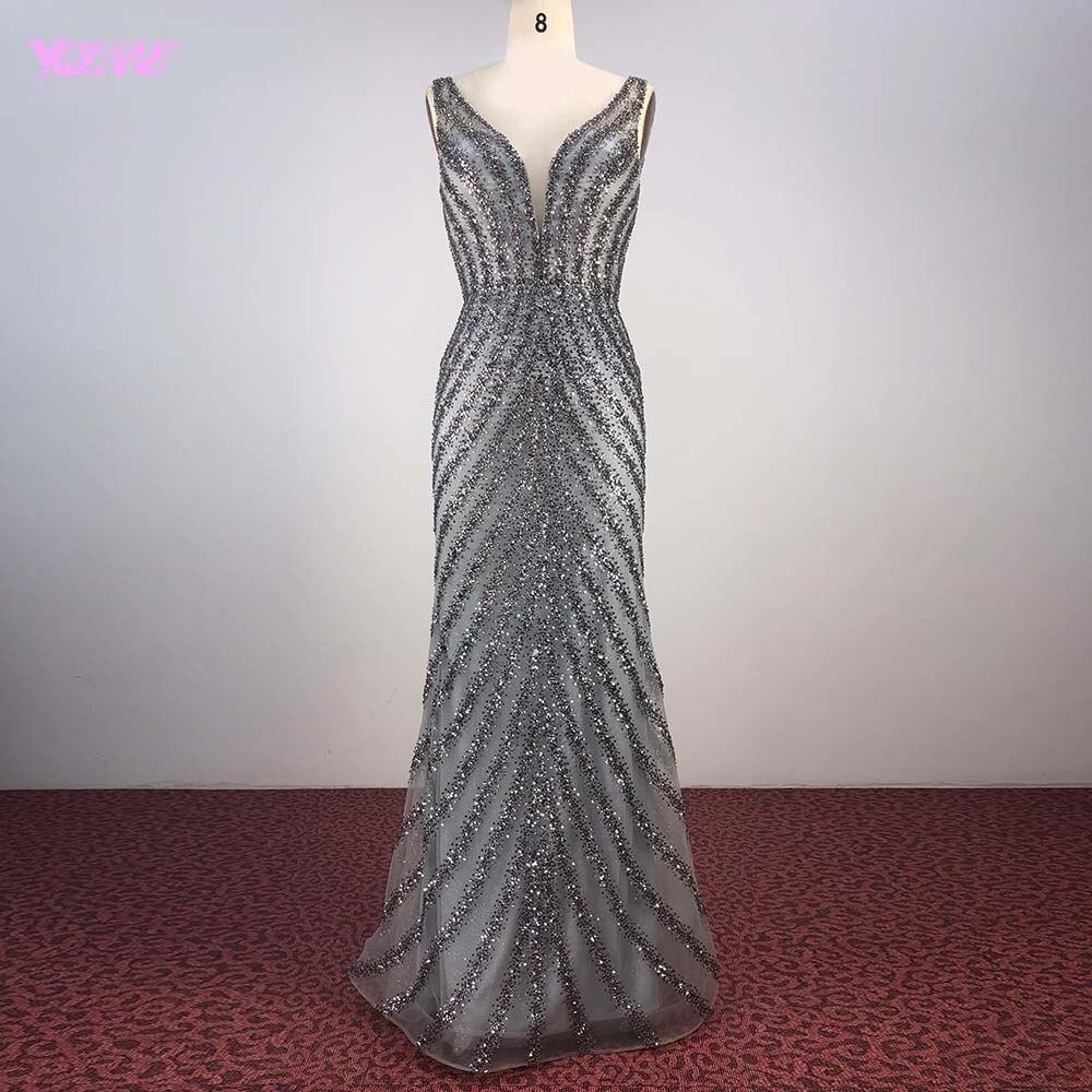 YQLNNE Deep V Neck Gray Beading   Evening     Dresses   Long Mermaid Formal   Evening   Gown