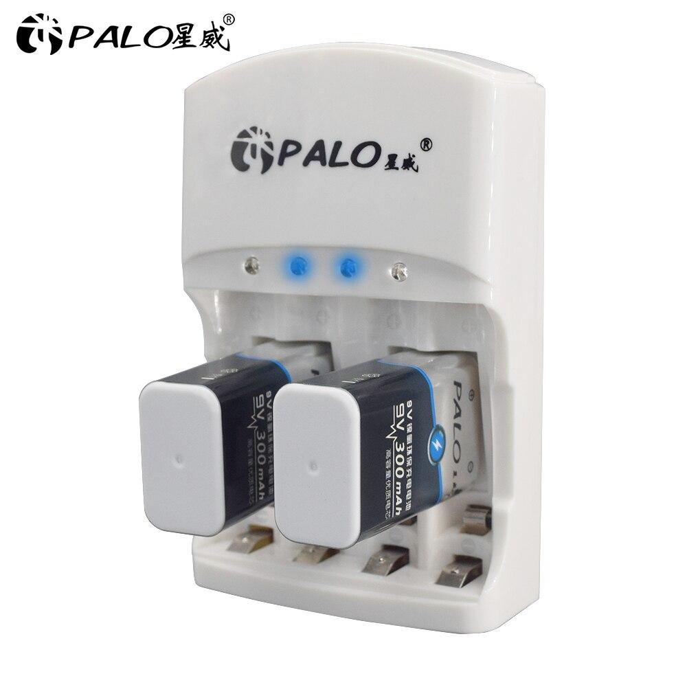 PALO 801 2 stücke 9v akku 300mAh 9 V nimh batterie 9 Volt Batterie + Gewidmet 2 slots 9v ladegerät AA AAA Beeilen zu handeln