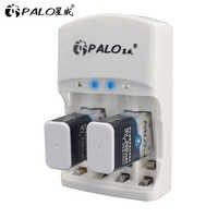 PALO 801 2 uds 9v batería recargable 300mAh 9 V nimh batería 9 voltios + dedicado 2 ranuras 9v cargador AA AAA prisa para actuar