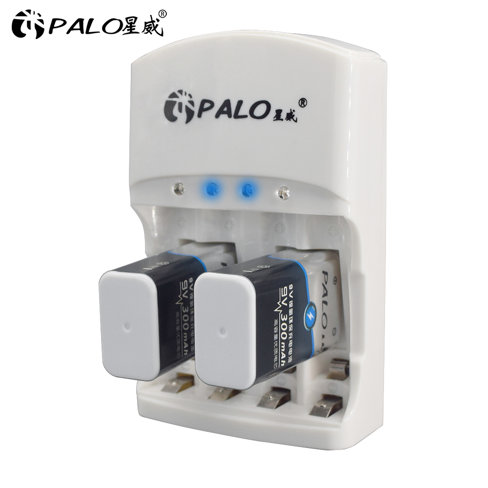 PALO 801 2pcs 9v rechargeable <font><b>battery</b></font> <font><b>300mAh</b></font> 9V nimh <font><b>battery</b></font> 9 Volt <font><b>Battery</b></font> +Dedicated 2 slots 9v charger <font><b>AA</b></font> AAA Hurry to act image