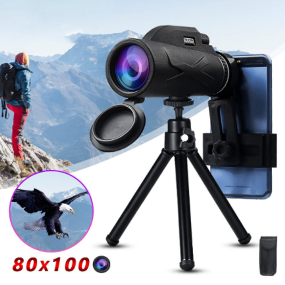 Portable 80x100 HD Telescope High Power Binocular Professional Military Night Vision Monocular Zoom Optic Spyglass Hunting Scope