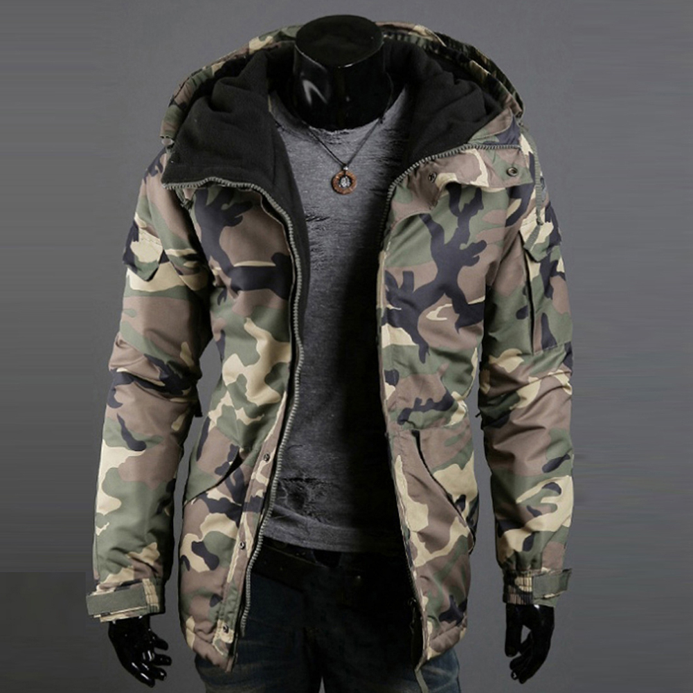 Fashion Winter Warm Men Jacket Coat Thicken  Camouflage Print Pocket Jacket Zipper Long Sleeve Coat For Men's Clothing 1